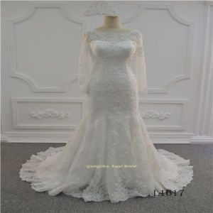 Long Sleeve Ivory Muslim Lace Wedding Dress pictures & photos