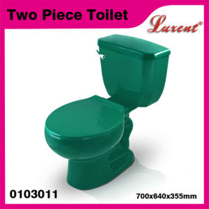 Porcelain with Seat with Tank Fittings Classic Dark Green 2PC Toilet