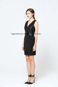 Hot Sale Slim Fit Zipper Black Sleeveless V-Necked New Fashion Ladies Dress pictures & photos