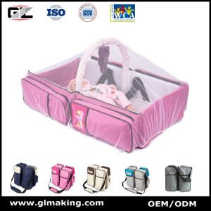 Portable Multifunctional Baby Pink Diaper Bag for Travel pictures & photos