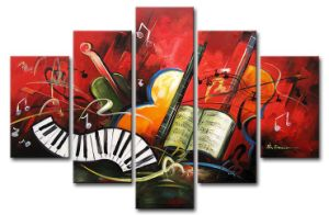 Modern Abstract Oil Painting 5 Panel Musical Instrument Hand Painted Painting Pictures Wall Art on Canvas
