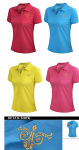 Embroidered Retail Customized 95% Cotton 5% Spandex 180GSM Ladies Polo T Shirts pictures & photos
