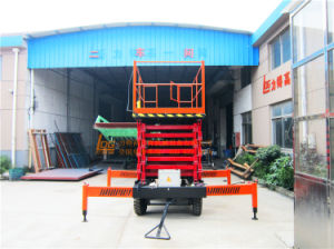 14m Manual Mobile Hydraulic Aerial Scissor Lift Platform (SJY0.5-14) pictures & photos