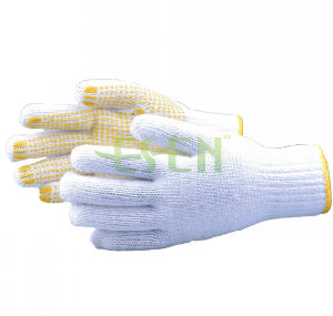 Cotton String Knitted Gloves Yellow PVC Dots Safety Work Glove pictures & photos