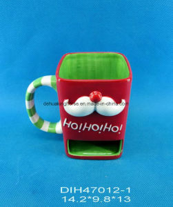 Hand-Painted Ceramic Square Coffee Mug with Cookie Holder pictures & photos