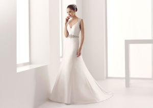 Princess A-Line White Satin Wedding Dress with Court Train pictures & photos