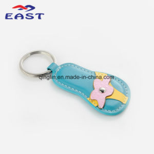 Novelty Design Flip Flops Shape Multicolor Leather Key Ring pictures & photos