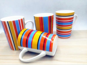 T-Type Ceramic Mug with 7 Color Stripes pictures & photos
