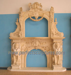 Carving Marble Fireplace for Carved Stone Mantel (QY-LS332) pictures & photos
