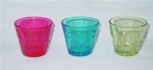 Clear V-Shaped Colorful Glass Candle Holder with Embessed Pattern Design (DRL06160) pictures & photos