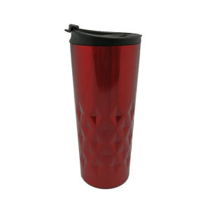 Quilted Stainless Steel Vacuum Coffee Mug Red, Blue 400ml pictures & photos