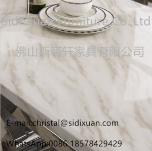 Modern Marble Top Stainless Steel Dining Room Sets Living Room Funriture Dining Table (SJ806) pictures & photos