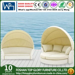 Outdoor Patio Rattan Wicker White Round Shape Sun Bed (TGLU-14) pictures & photos