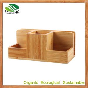 Customize Bamboo Multi-Function Bamboo Space Saving Desk Organizer pictures & photos