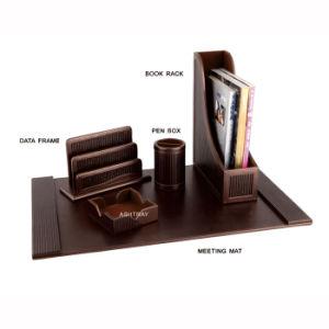 China pu leather office desk organizer set pb111 china - Leather desk organizer set ...