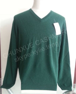 Mens V-Neck Pure Cashmere Sweater