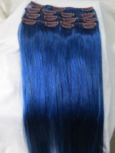 Blue Color Indian Human Clip in Hair Extension pictures & photos