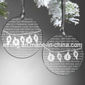 Personalized Round Crystal Glass Gift for Christmas Ornament pictures & photos