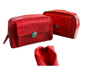 Crocodile Pattern Embossed Leather Cosmetic Bag (3005)