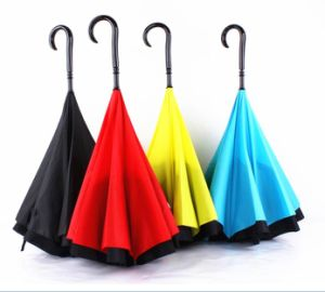 Reverse Umbrella Anti UV Rain Folding Windproof Princess Umbrella with J Hook pictures & photos