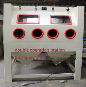 Turntable Type Double Operated Manual Sandblasting Machine pictures & photos
