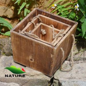 Decorative Squared Wooden Flower Pot/Garden Planter