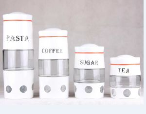 Pasta Coffee Sugar Canister Glass Storage Jar with S/S Coating