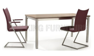 Simple Beautiful Modern White Square Wooden Top Dining Table with Stainless Steel Leg (NK-DT001) pictures & photos