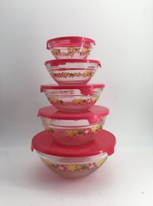 High Quality Decal Glass Bowl with Lid Kb-Hn06718 pictures & photos