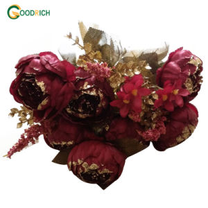 Glittered Peony Silk Flower for Decoration pictures & photos