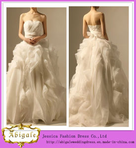2014 Charming Strapless Sleeveless Ball Gown Floor Length Wedding Dress with Swirls (hs023)