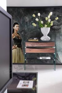 2013 Clear Glass Console Table/Wood Console Desk -S021 pictures & photos