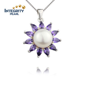 Romantic Purple Pendant Sun Flower Shape Pendant 10mm Wedding Women Pearl Pendant