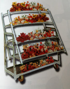 Garden Flower Display Trolley Four Wheels Multi-Layer Transportation Display Cart pictures & photos