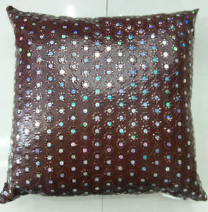 Sequin Embroidery Cushion Fashion PU Decorative Pillow (XPL-12) pictures & photos