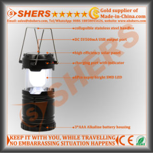 Rechargeable Extendable 6 SMD LED Camping Lantern USB Outlet pictures & photos