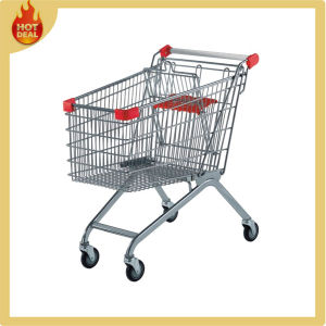 Galvanized Steel Supermarket Shopping Cart with 4 Wheels pictures & photos