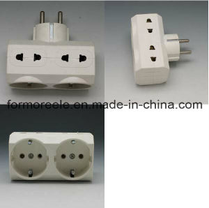 EU/Us to Europe 2 Round Pin Plastic White Grounding Socket Adapters pictures & photos