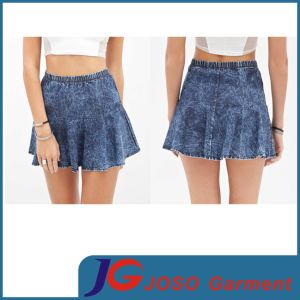 Women Vintage Pleated Denim Skirts (JC2088) pictures & photos