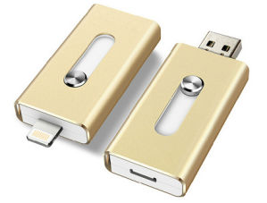USB Flash Drive OTG Mobile Phone for Apple Mobile Phone USB Flash Drive Flat Twin Plug OTG Mobile U Disk Android General Print Logo OEM pictures & photos