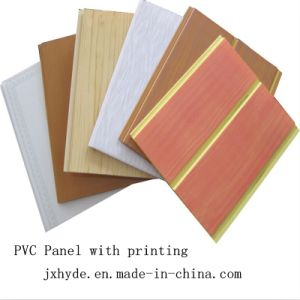 Wooden Color Middle Groove PVC Ceiling Wall Panel ISO9001 SGS pictures & photos