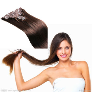100% Human Remy Hair Clip in Hair Brown Color pictures & photos