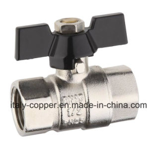 "1/2""Brass Forged Brass Ball Valve with Butterfly Handle pictures & photos"