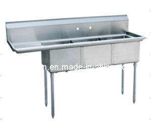 3 Compartment  Stainless Steel Sink  (S3-242414-24L-16) pictures & photos