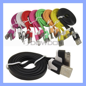 Colorful Flat Noodle USB Cable Charger for iPhone iPad iPod 1m 2m 3m (Cable-05) pictures & photos
