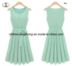 Ladies′ Dress, New Womens Lady Elegant Sleeveless Pleated Chiffon Vest Dress with Lining