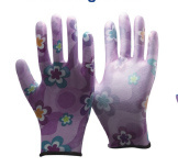 Flower Print Polyester Liner Coated White PU Garden Gloves pictures & photos