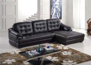 Black Color L Shape Chaise Longue Leather Sofa pictures & photos