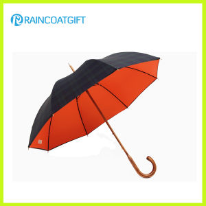 Straight Wooden Curved Handle Manual Open Golf Umbrella pictures & photos
