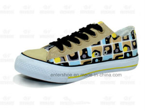 Low Cut Printed Canvas Women Sneaker with Shoelace (ET-MY170438W)
